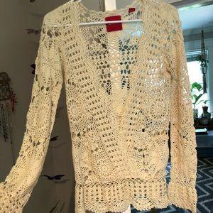 Crochet deep V sweater blouse